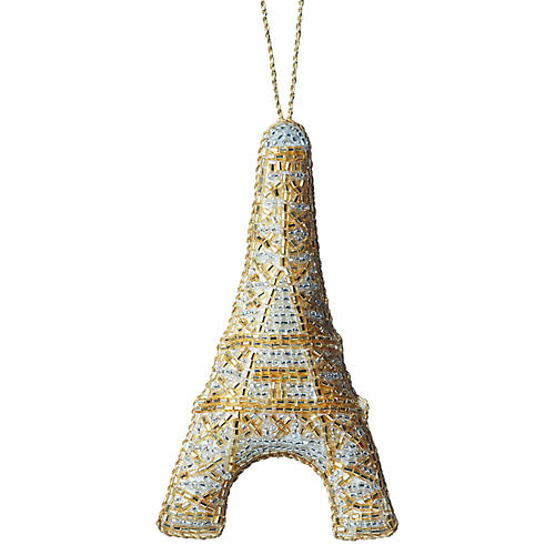 Eiffel Tower Beaded Ornament, Gold/Silver
