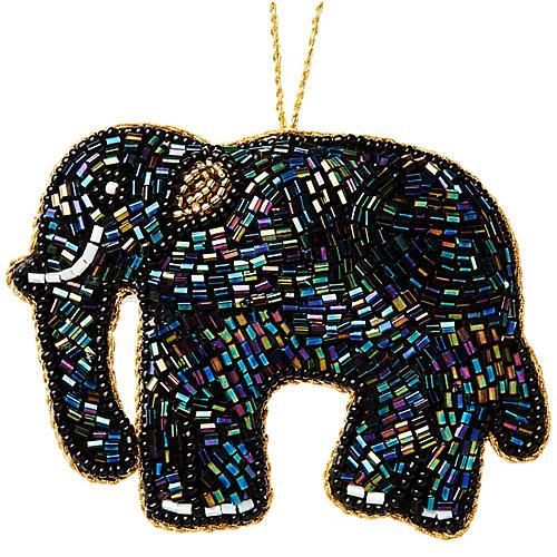 Elephant Beaded Ornament, Hematite/Gold