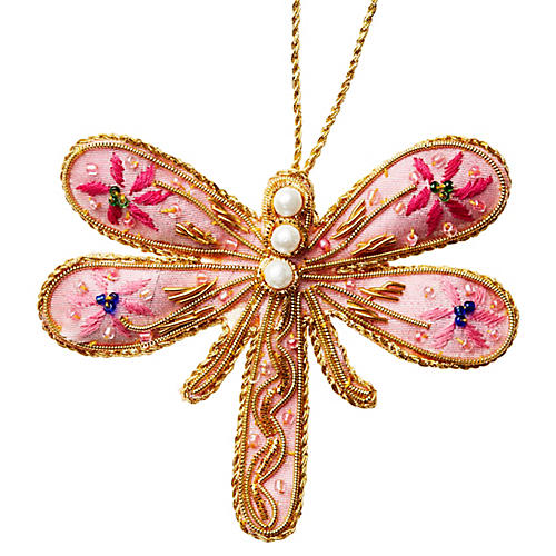Dragonfly Beaded Ornament, Pink/Multi