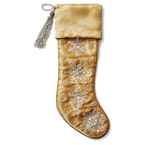 Snowflake Beaded Stocking, Gold/Silver