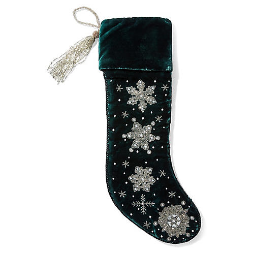 Snowflake Beaded Stocking, Green/Silver