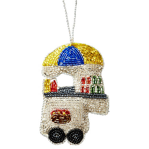 Hot Dog Cart Beaded Ornament, Gold/Multi