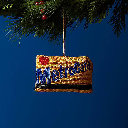 Metrocard Beaded Ornament, Yellow/Multi