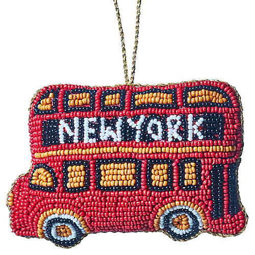 NYC Double Decker Beaded Ornament, Red/Multi