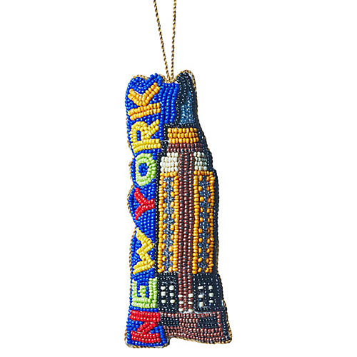 NYC Empire State Beaded Ornament, Blue/Multi