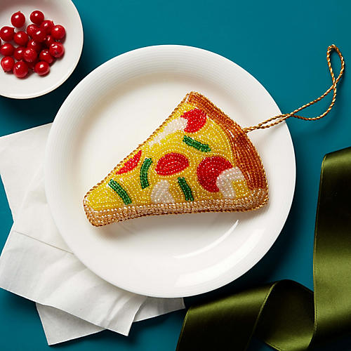 Pizza Beaded Ornament, Brown/Multi