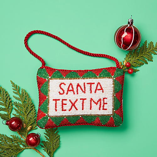 Santa Text Me Beaded Doorknocker, Red/Multi