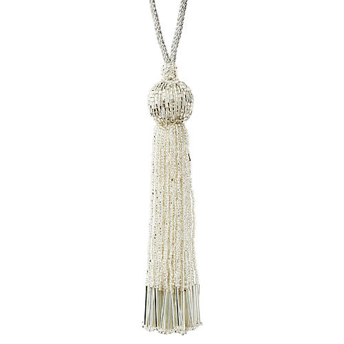 Tassel Beaded Ornament, Silver