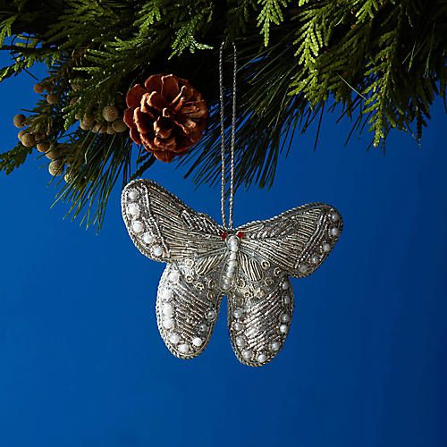 Butterfly Beaded Ornament, Silver