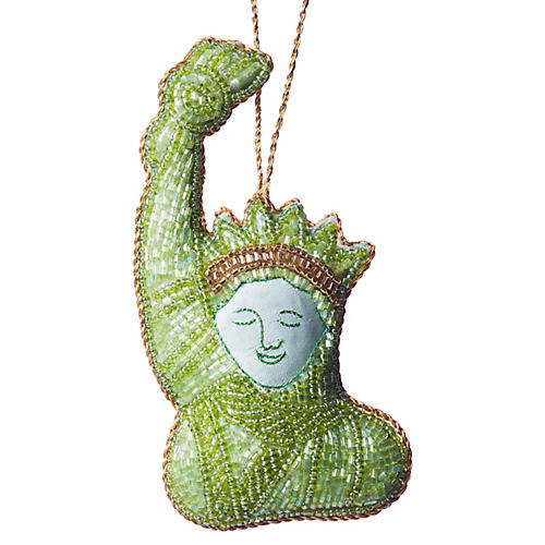 Statue of Liberty Beaded Ornament, Green/Gold