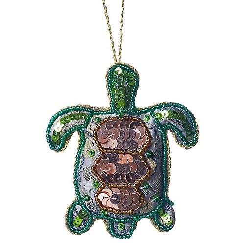 Turtle Beaded Ornament, Green/Multi