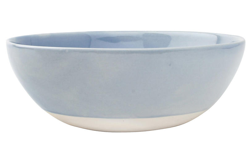 S/4 Shell Bisque Cereal Bowls, Blue