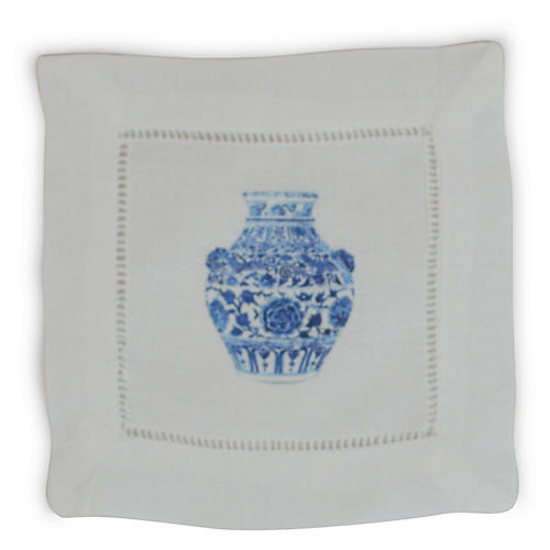 S/4 Yang Vase Lion Cocktail Napkins, White/Multi