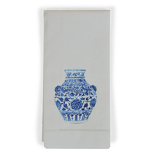 S/4 Yang Vase Lion Dinner Napkins, White/Multi