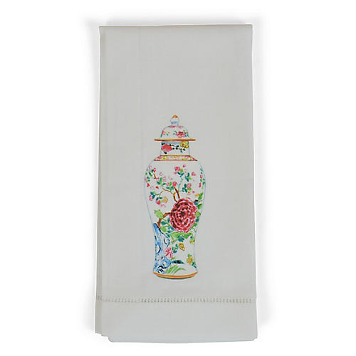 S/4 Vase Dinner Napkins, White/Multi