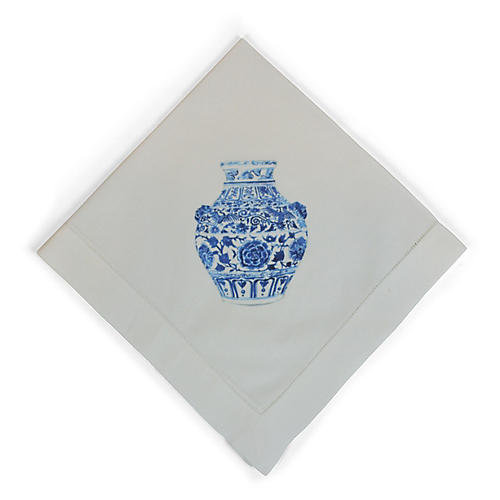 Yang Vase Lion Dinner Napkin, White/Multi