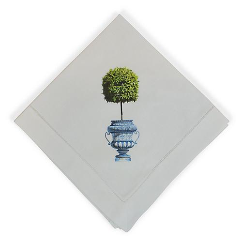 Topiary Dinner Napkin, White/Multi