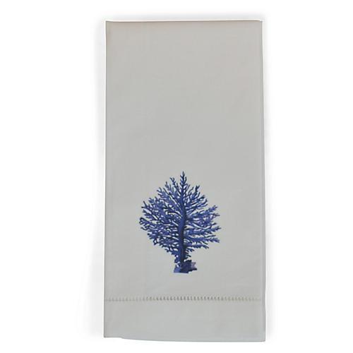 S/2 Blue Coral Guest Towels, White/Blue