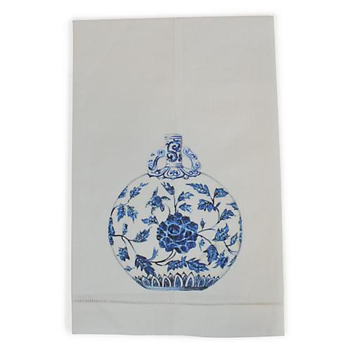 Blue & White Jar Guest Towel, White/Multi