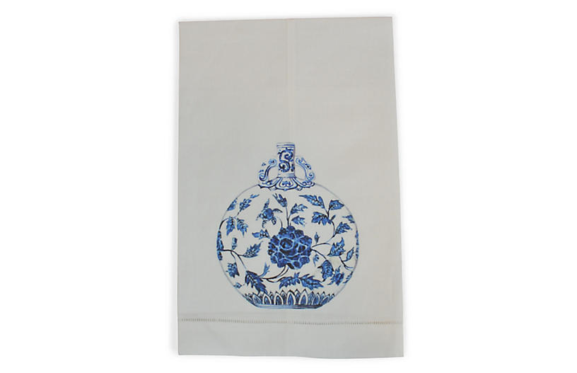Blue & White Jar Guest Towel, White/Multi