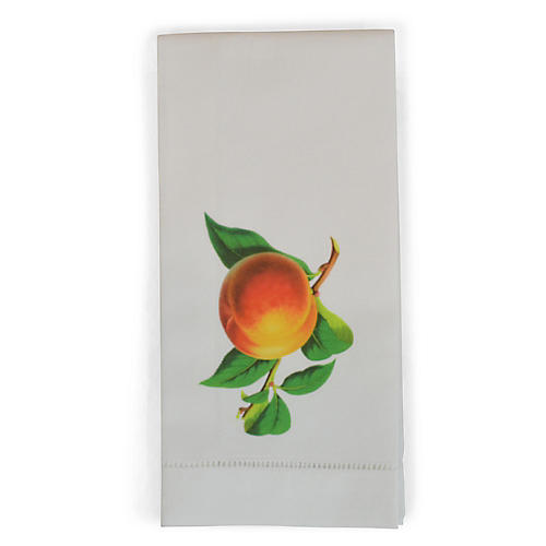 S/2 Peach Guest Towels, White/Multi