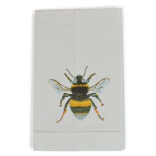 S/2 Bee Guest Towels, White/Multi