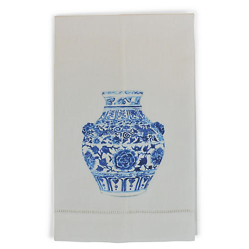 S/2 Yang Vase Lion Guest Towels, White/Multi
