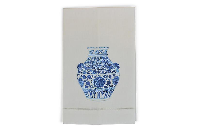 S/2 Yang Vase Lion Guest Towels, White/Multi