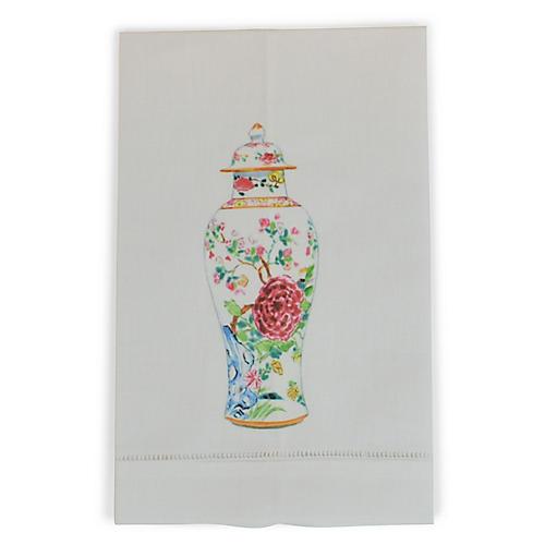 S/2 Vase Guest Towels, White/Multi