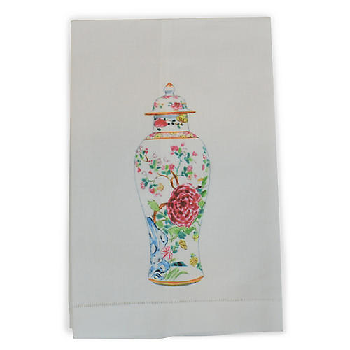 Vase Guest Towel, White/Multi