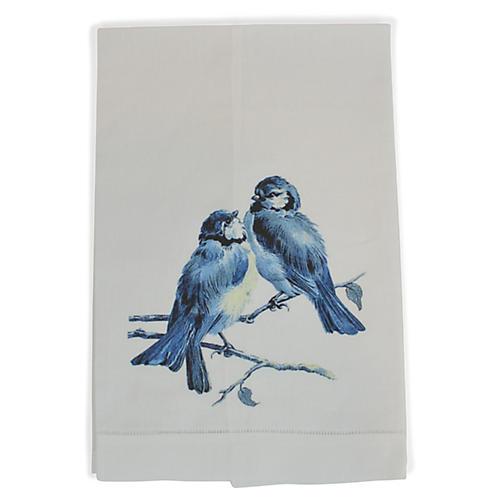 Birds Guest Towel, White/Multi