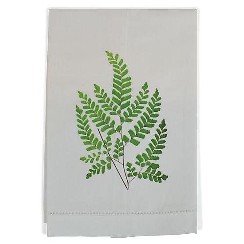 Maidenhair Fern Guest Towel, White/Multi
