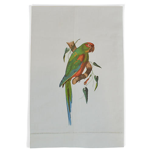 Parrot on a Branch Guest Towel, White/Multi