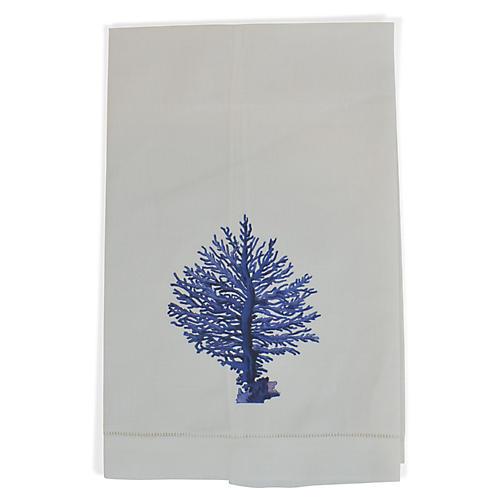 Blue Coral Guest Towel, White/Blue