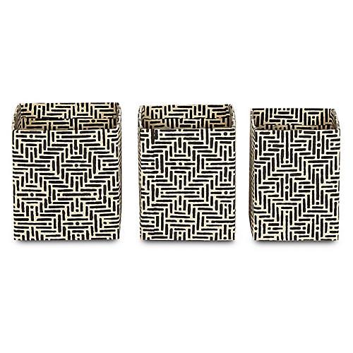 Asst. of 3 Deco Pencil Cups, Black/White