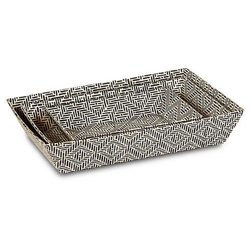 Asst. of 3 Deco Decorative Trays, Black/White