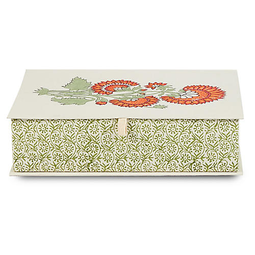 Chrysanthemum Decorative Box, Green/Multi
