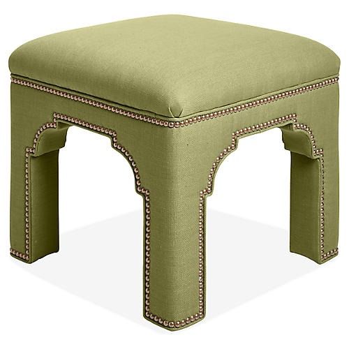 Taj Stool, Apple Green Linen