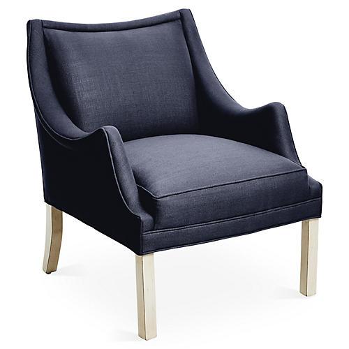 Koko Accent Chair, Navy Linen