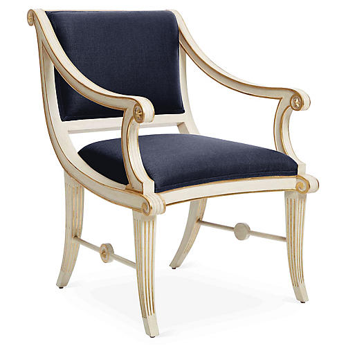 Star Accent Chair, Navy Linen