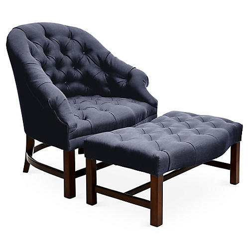 T42 Chair and Ottoman Set, Maple/Navy