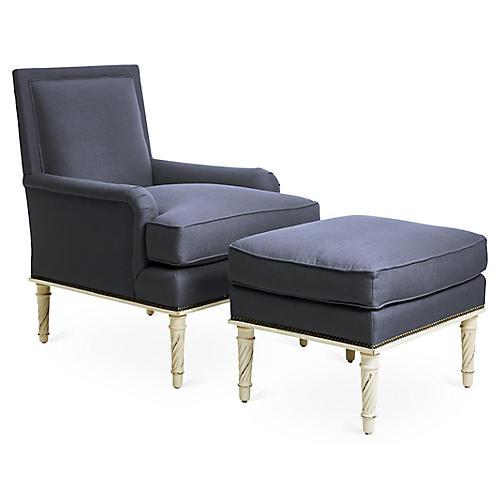 Azure Chair and Ottoman Set, Alpine/Navy