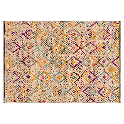 """5'7""""x8' Gabbeh Hand-Knotted Rug, Ivory/Multi"""