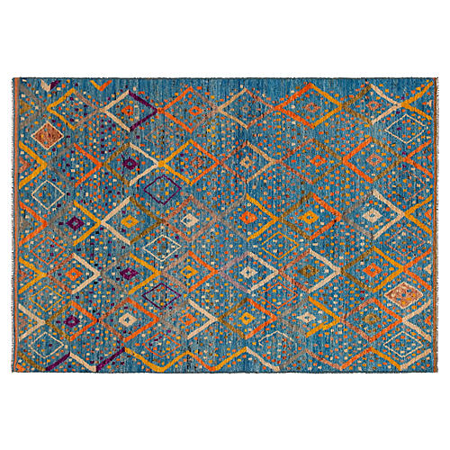 """5'8""""x8'1 Gabbeh Hand-Knotted Rug, Blue/Multi"""