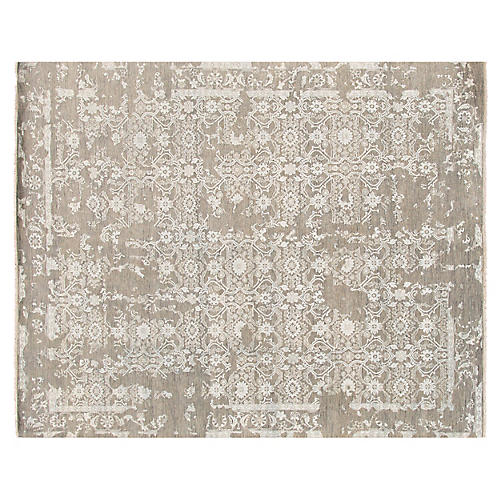 """8'1""""x10' Modern Hand-Knotted Rug, Gray"""