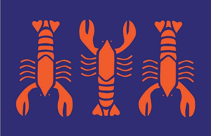 Lobster Vinyl Place Mat, Blue/Red