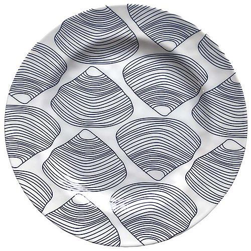 Clamshell Melamine Dinner Plate, Blue/White