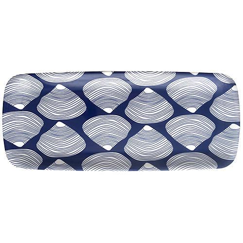 Clamshell Melamine Serving Tray, Blue/White