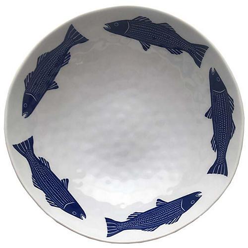 Striper Melamine Serving Bowl, Blue/White
