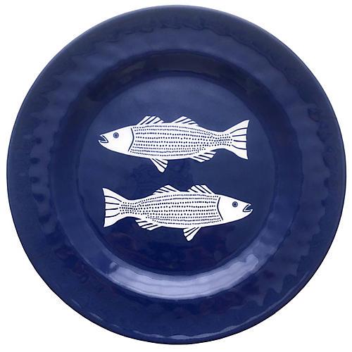 Striper Melamine Side Plate, Blue/White